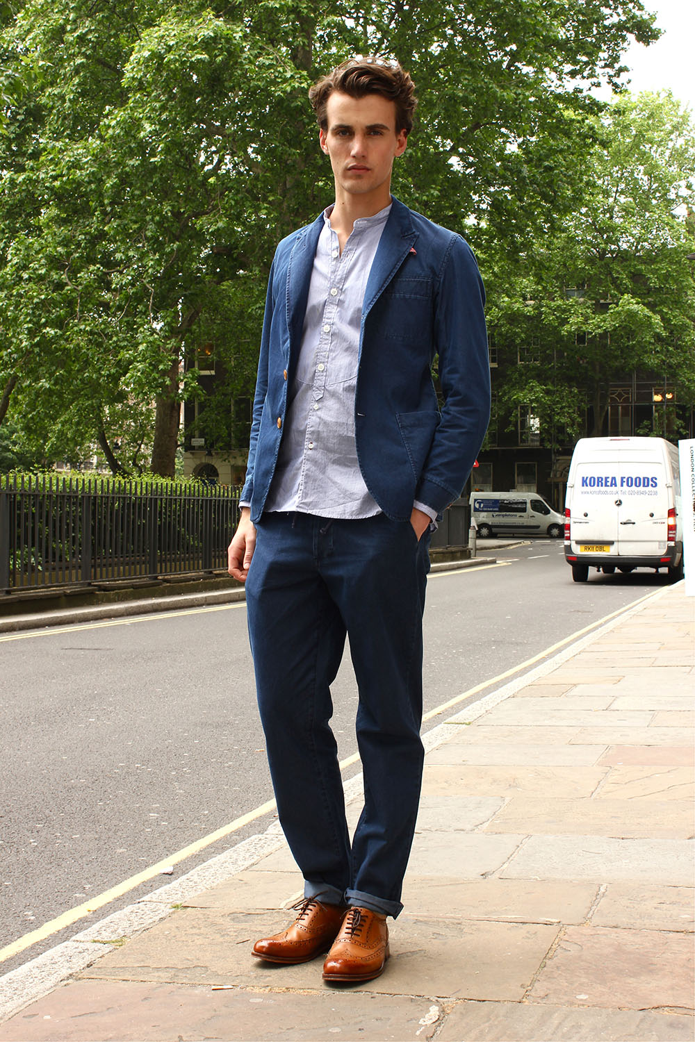 Henry Shoebrook London Collections MEN Street Style in Oliver Spencer from Mr Porter