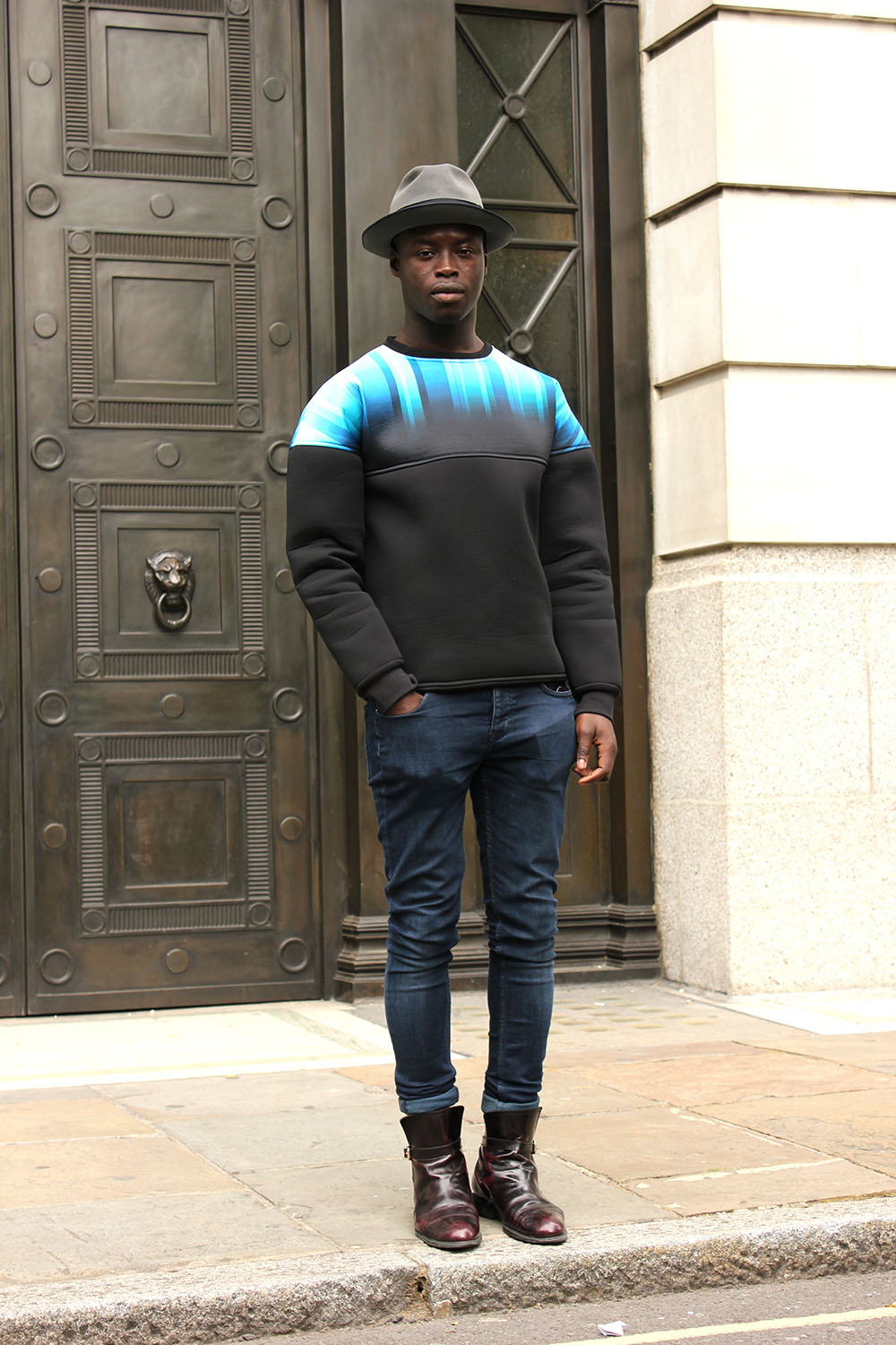 London Collections MEN Street Style Abraham Kamara in AQUA and ZARA