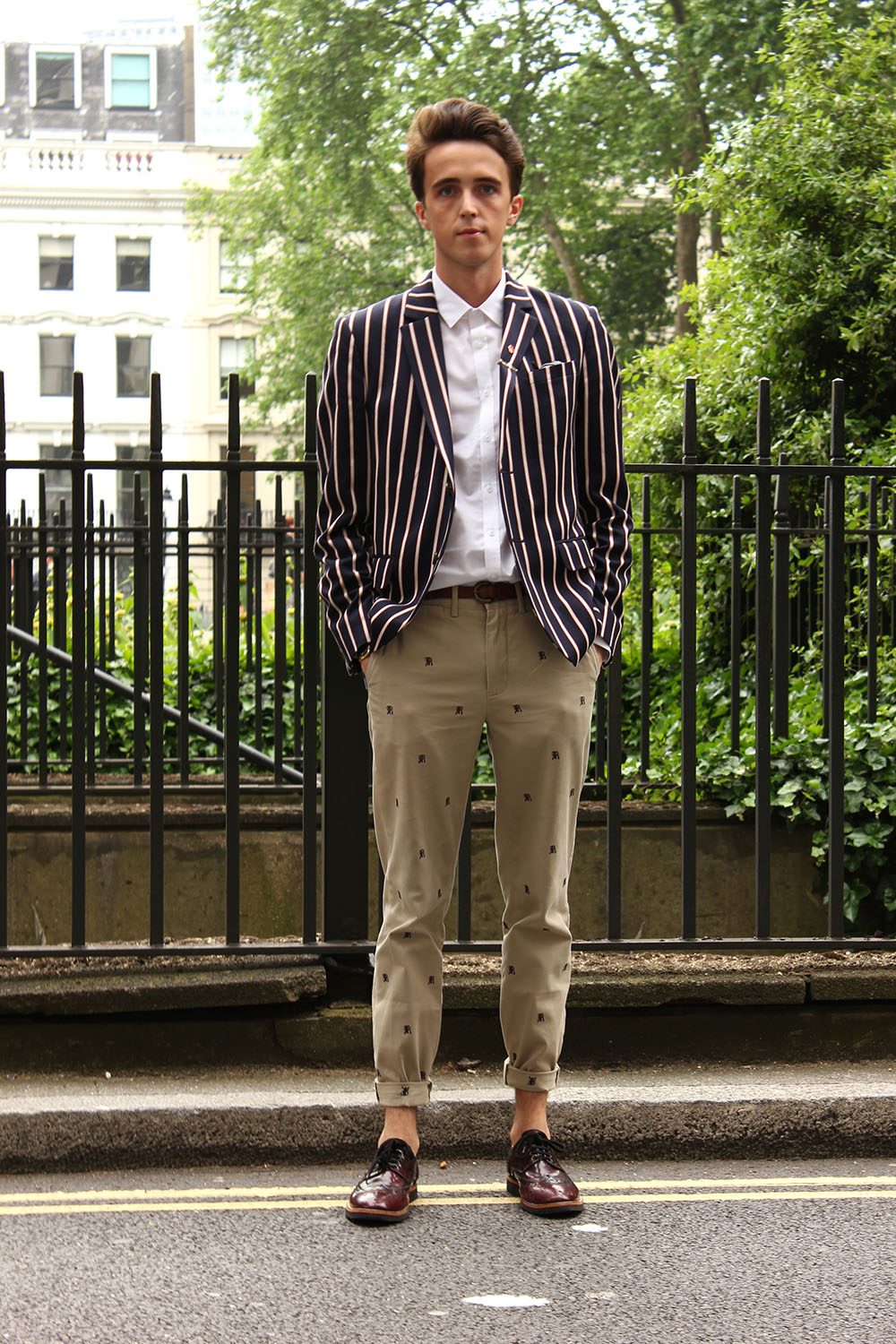 London Collections Men Street Style Louis Sheridan in Ralph Lauren, Jack Wills and Kurt Geiger off to Christopher Raeburn
