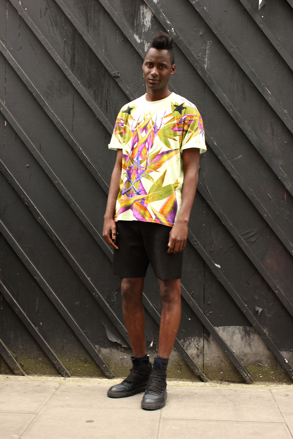 London Collections MEN Street Style Model Shayne in GIVENCHY, Alexander Wang and Kris Van Assche