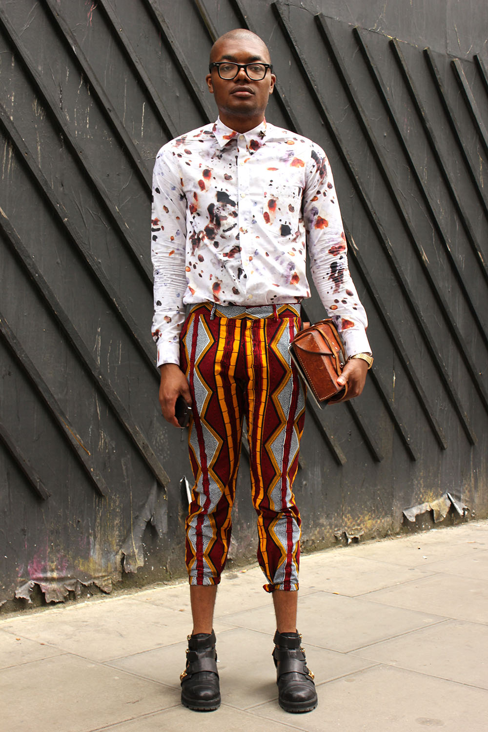 London Collections MEN Street Style Steven George in dent de man, Agi & Sam, Ray-Ban, and Topshop off to E. Tautz