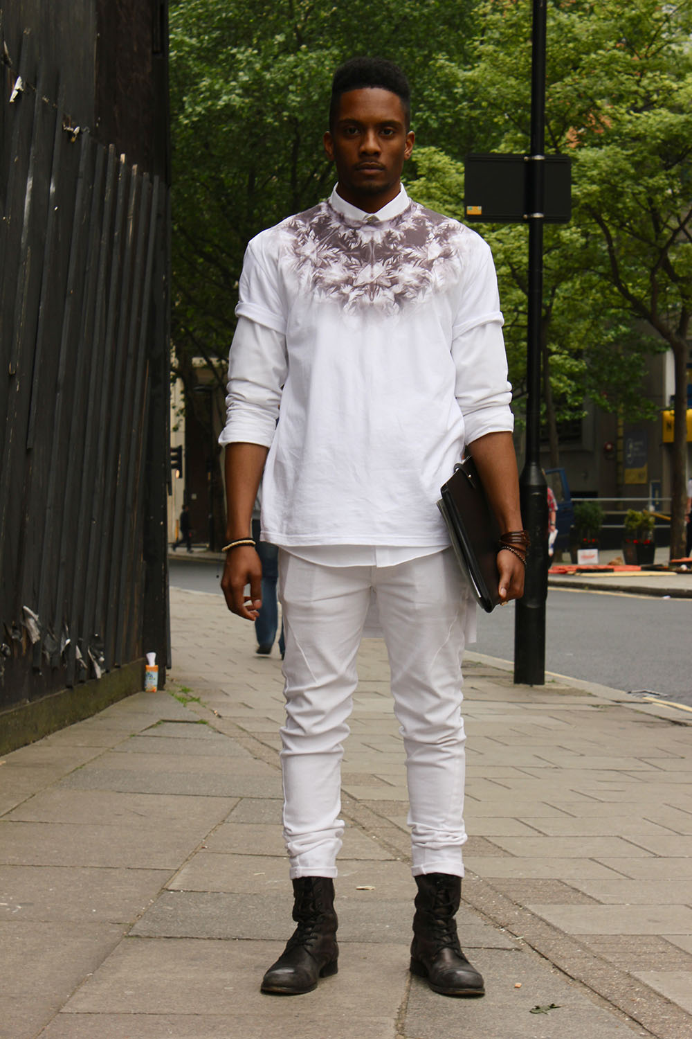 London Collections MEN Street Style Nas Abraham in Seraph Clothing. Religion and Allsaints off to KTZ and Spencer Hart