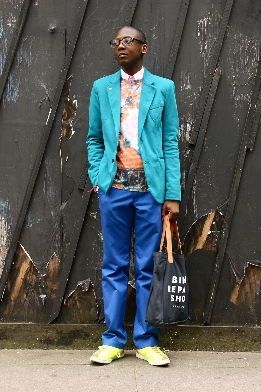 London Collections MEN Street Style Rickardo Maxwell in Jeremy Scott for Adidas, Blazer Zara, top Agy & Sam