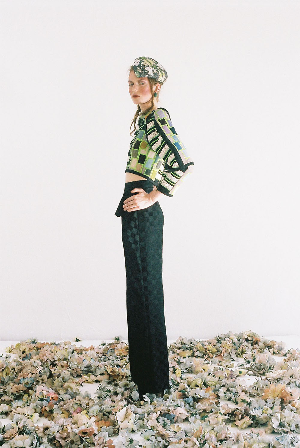 PHOENIX MAGAZINE Top NOVA CHIU, Trousers ANDREW MAJTENYI, Shoes BERNARD, Earrings MCL Jewellery, Hat E WHA LIM