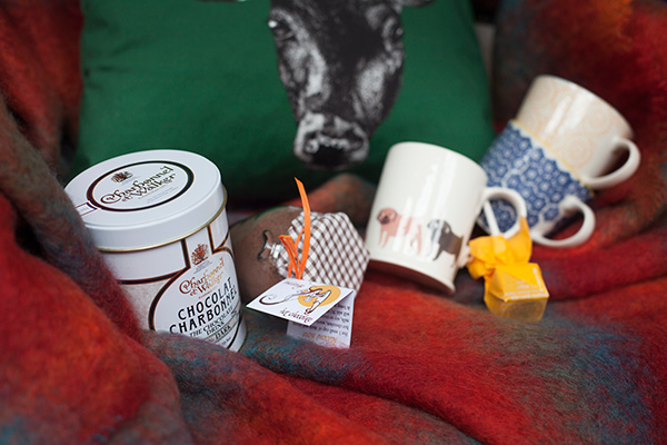 Original drinking chocolate by Charbonnel et Walker, hot chocolate jar by The Melange Chocolate Shop pug mug by Fenella Smith, milk hot chocolate block by Melt, blue and yellow astrid mugs by Oliver Bonas, stag cushion by Lisa Bliss, mohair throw by John Hanly & Co. Ltd.