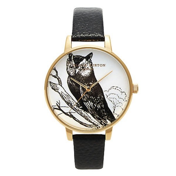 Olivia Burton owl motif leather watch