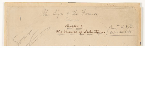Close-up of first manuscript page of 'The Sign of Four', 1889