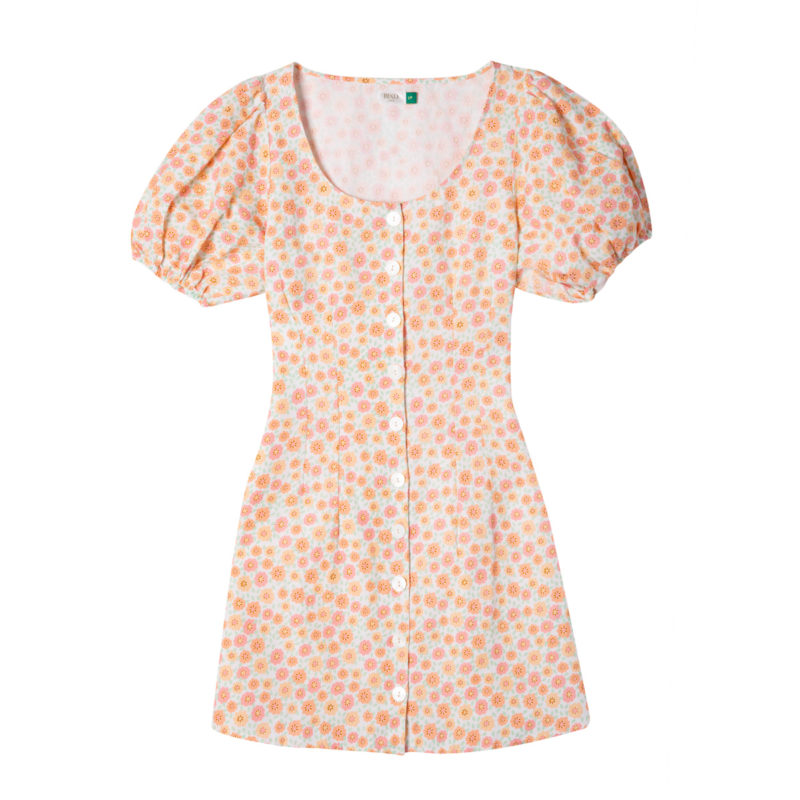 Christy – Retro Micro Floral, Button Up Minidress